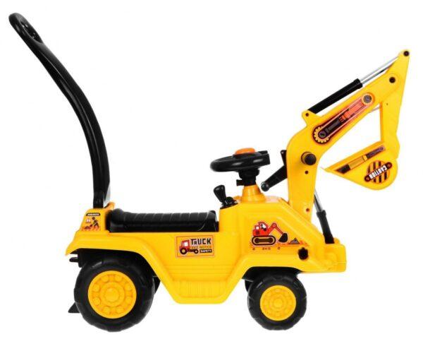 Masinuta fara pedale pentru copii Excavator cu casca (1007) Galben