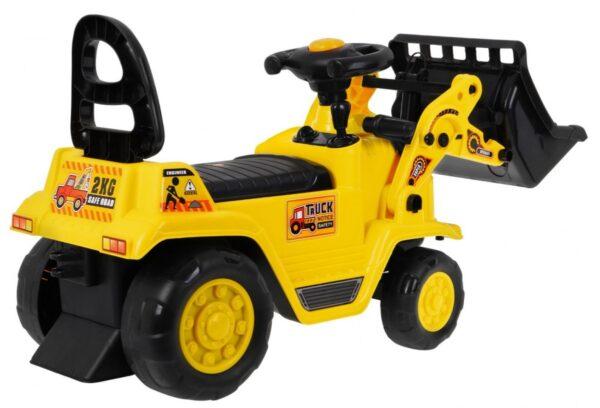 Masinuta fara pedale pentru copii Tractor cu cupa si casca (1004) Galben