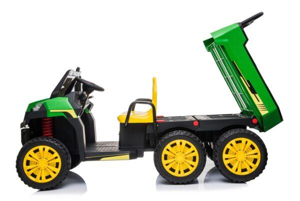 """Masinuta electrica """"Tractor tip ferma"""" 4×4 cu remorca ( A730) Verde"""