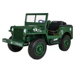 Masinuta electrica pentru copii JEEP Militar cu 3 locuri 4×4 (101) Verde inchis