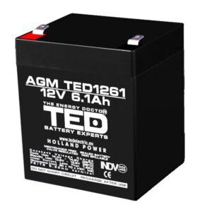 Acumulator pentru masinute electrice 12V/6.1Ah AGM VRLA F2, TED1261